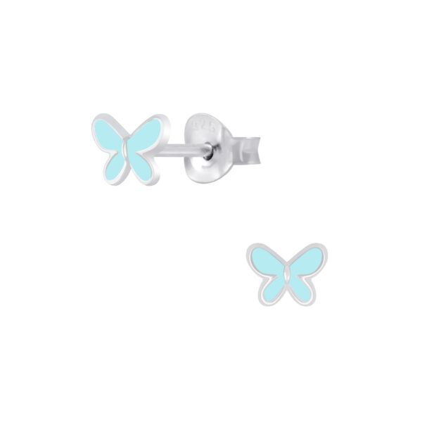 light blue enamel butterfly sterling silver post earrings