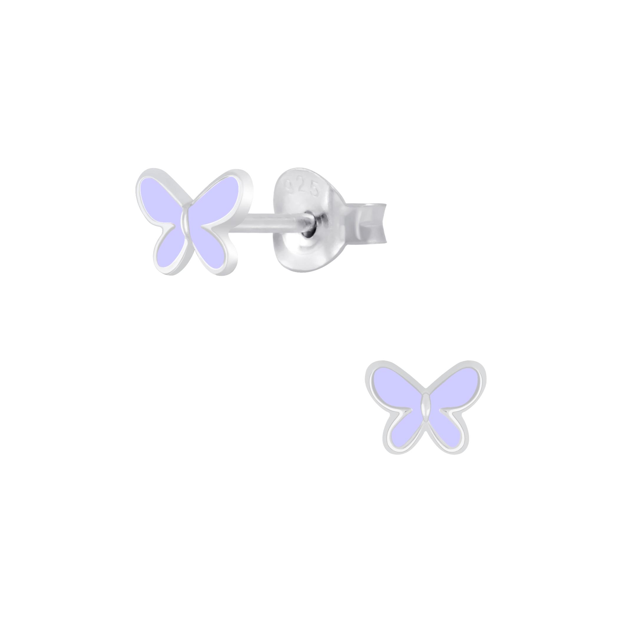 purple butterfly post earrings