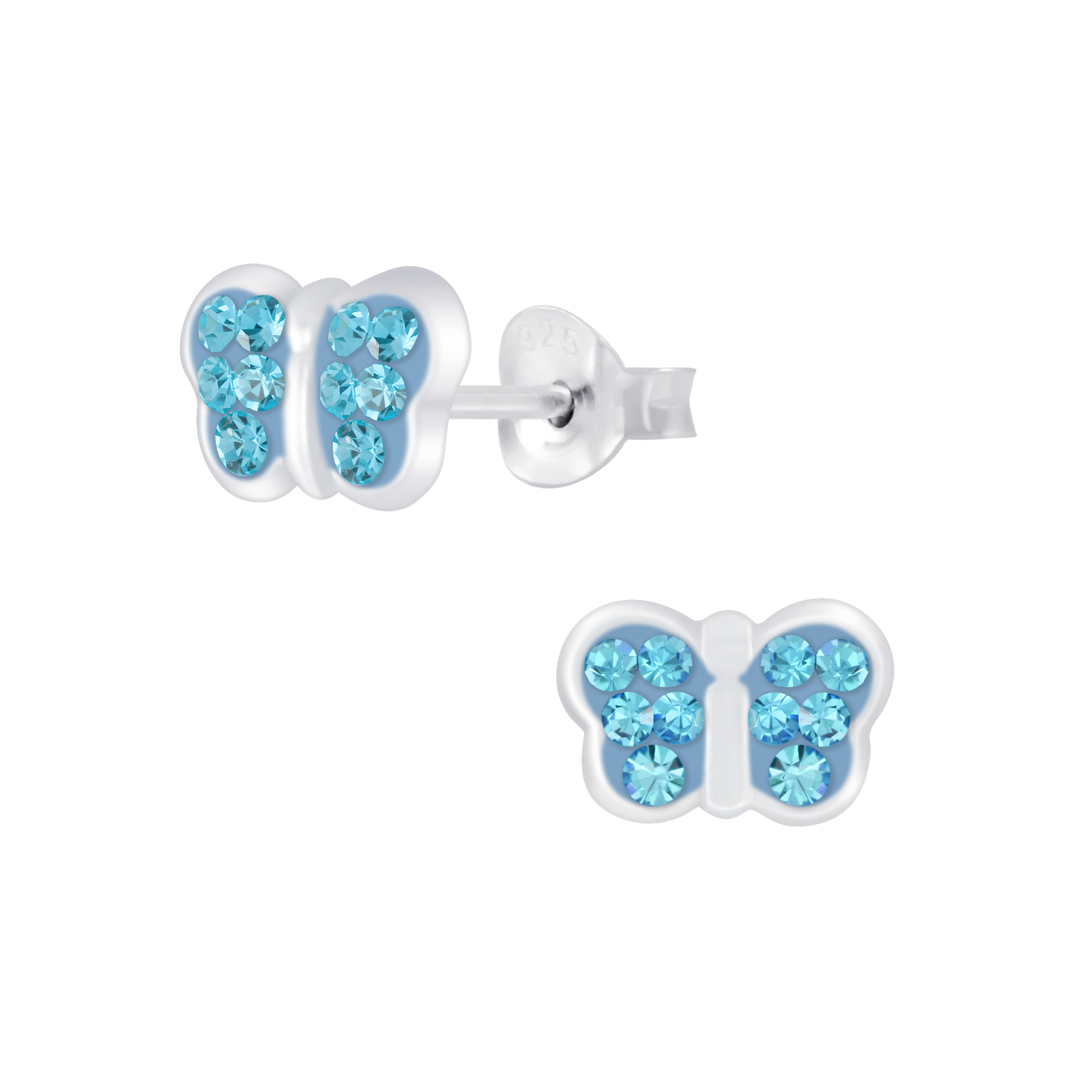 crystal and sterling silver blue butterfly post earrings