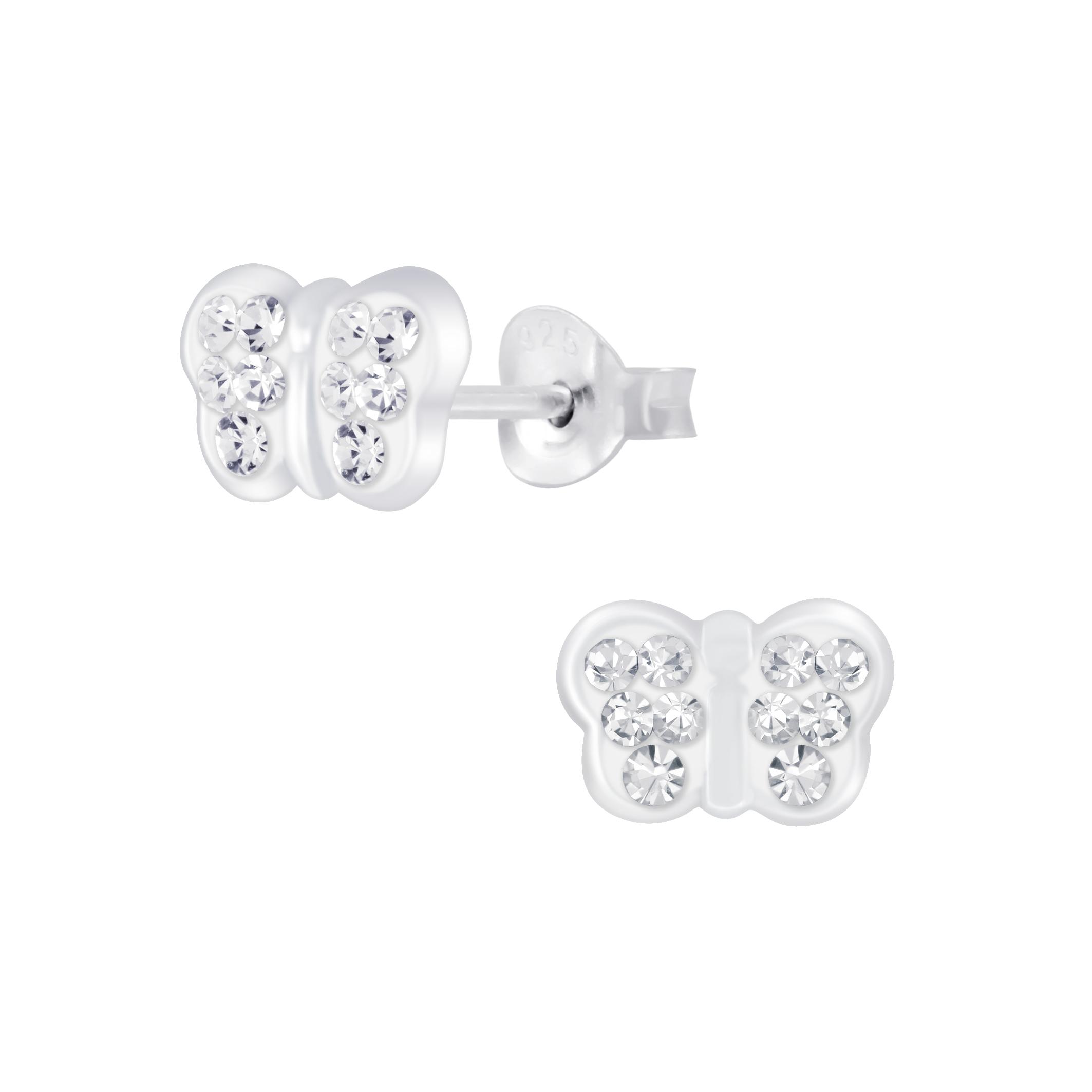 crystal butterfly stud earrings