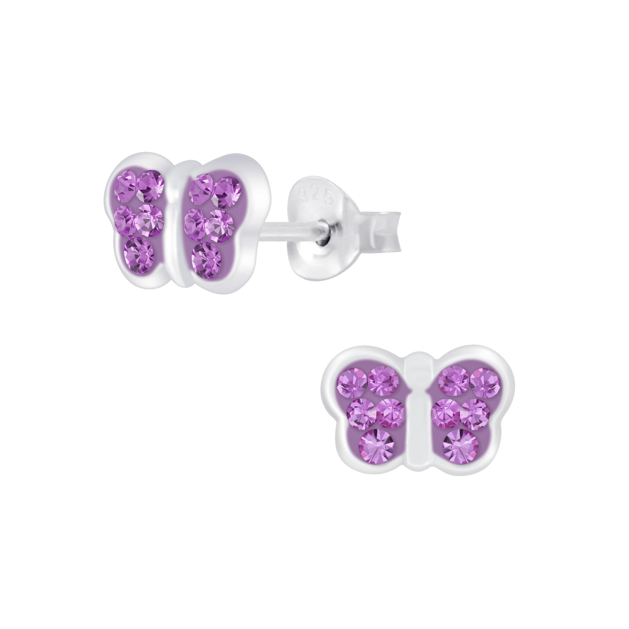 light purple crystal butterfly earrings