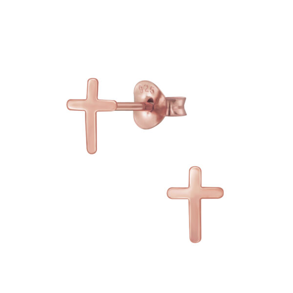 rose gold-plated nickel-free sterling silver cross post earrings