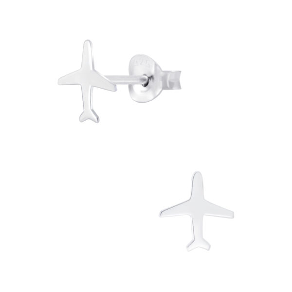 airplane sterling silver post earrings
