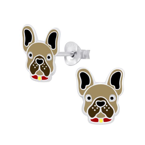 brown bulldog post earrings