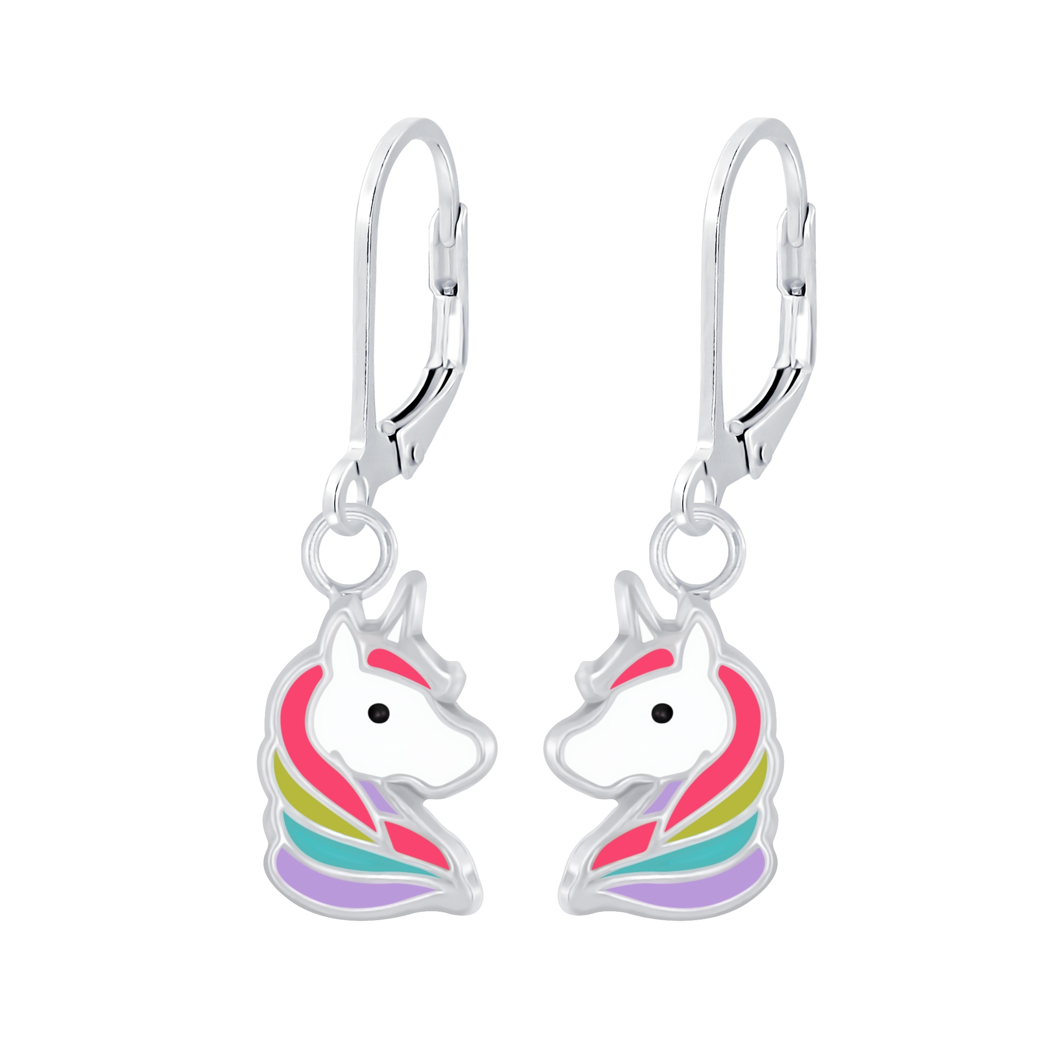 petite colorful unicorn earrings
