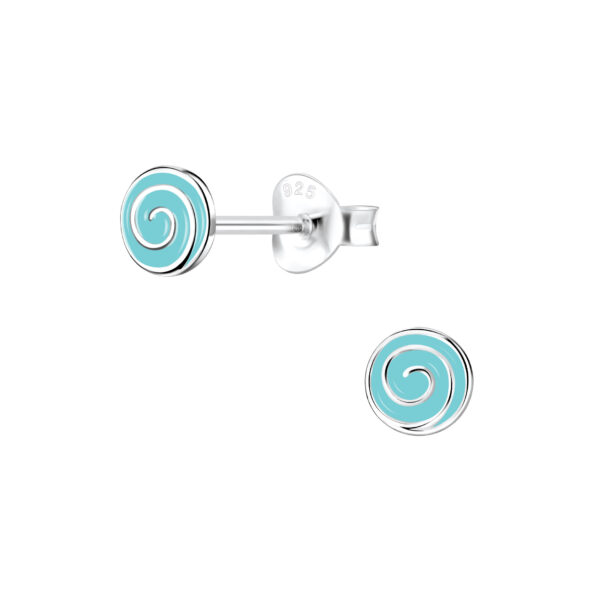 blue spiral swirl enamel and sterling silver post earrings