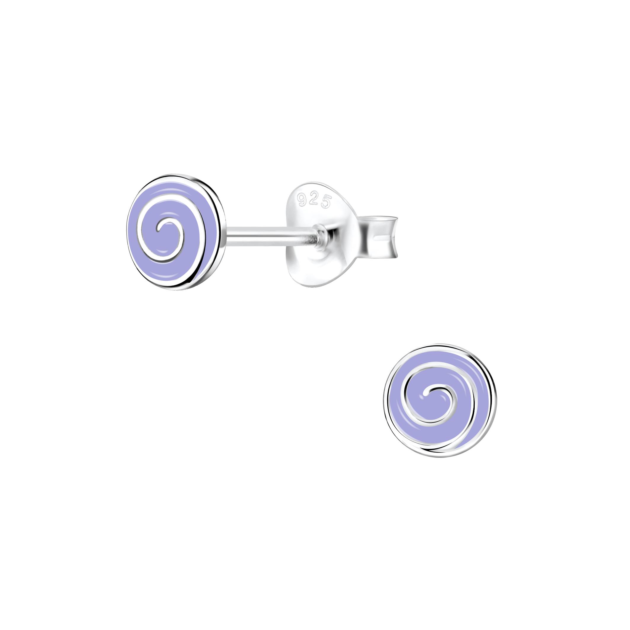 light purple spiral stud earrings