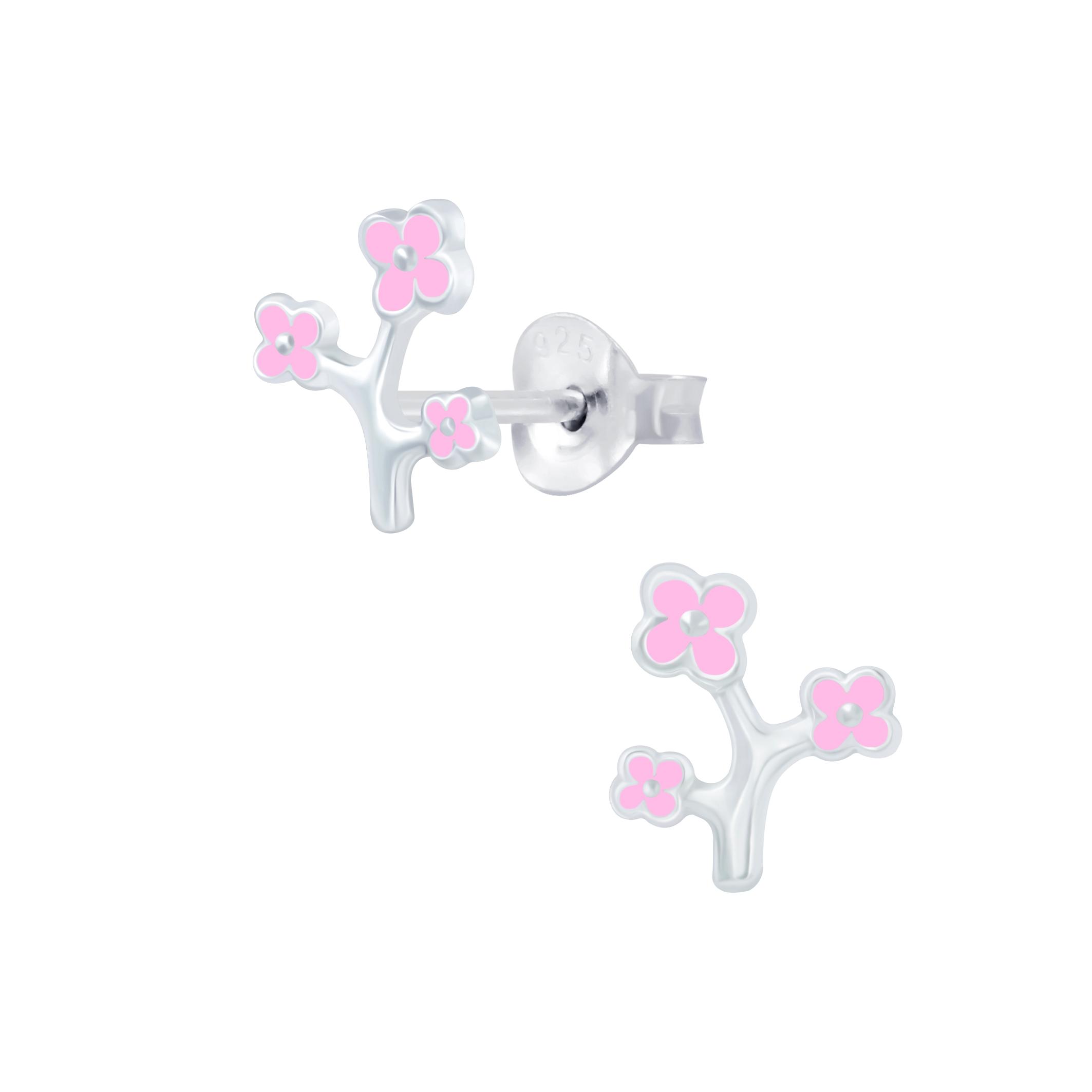 flowers on branch sterling silver stud earrings