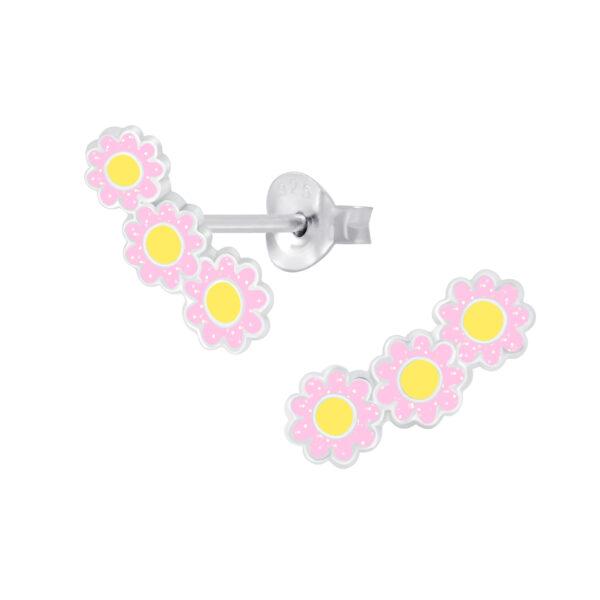 pink daisy ear climber post earrings