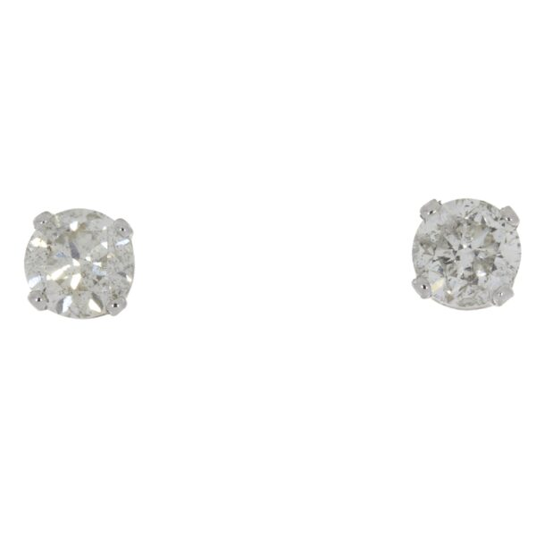 .75 CTW Diamond and 14K white gold stud earrings