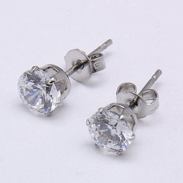 7 MM Cubic Zirconia and stainless steel studs