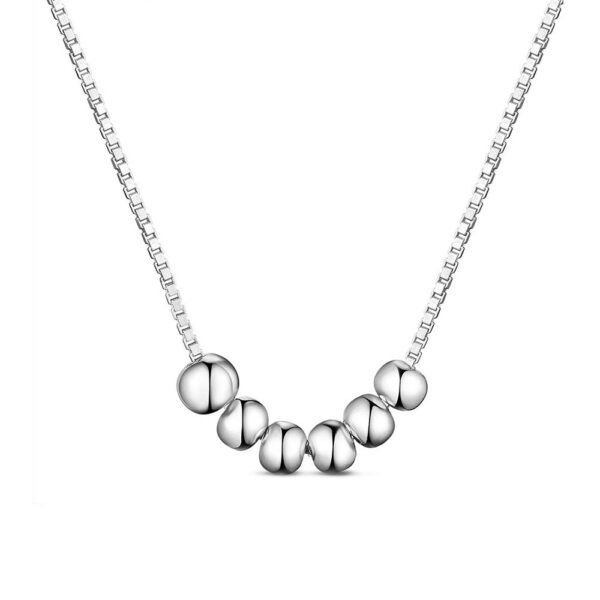 7 small beads on sterling silver box chain necklace