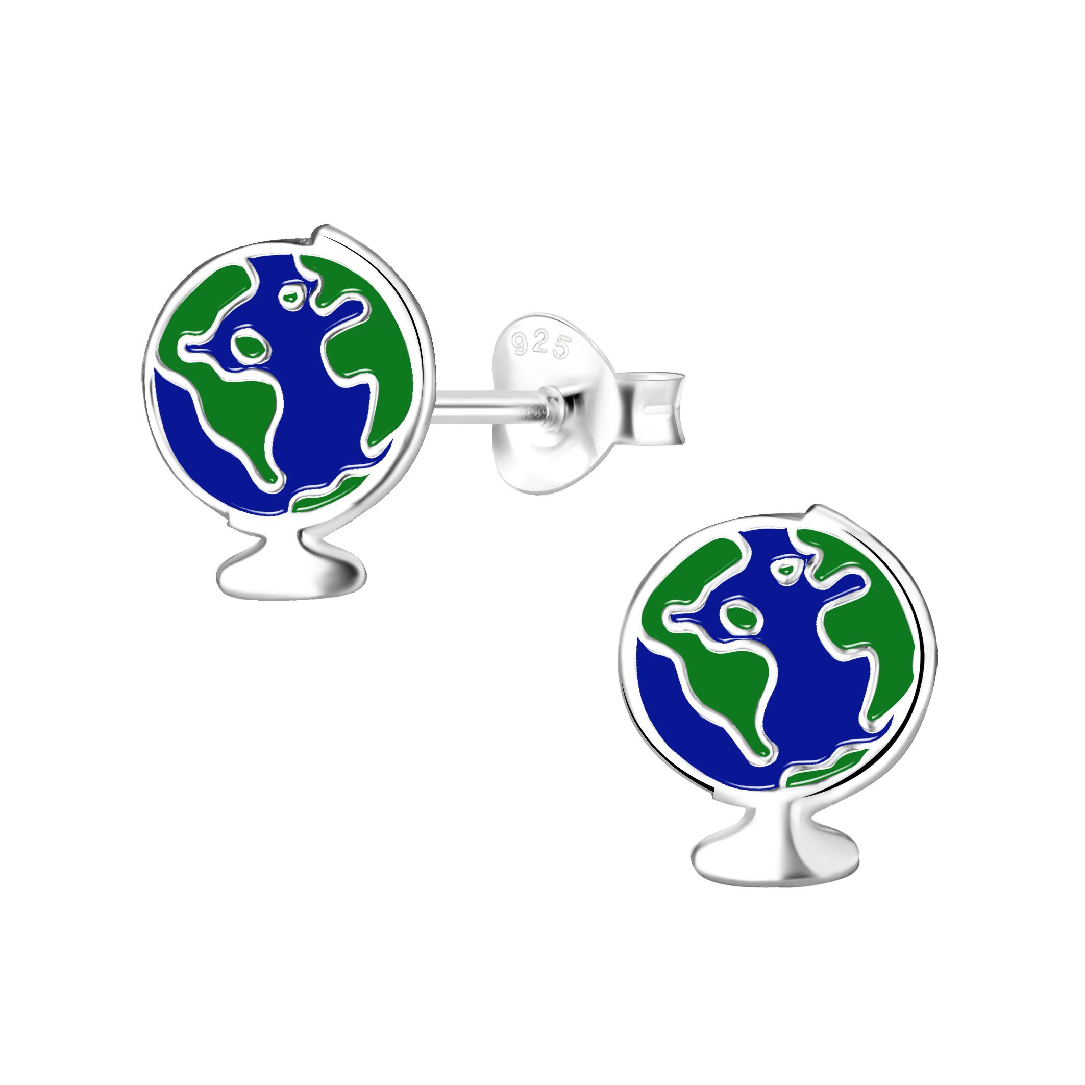 globe sterling silver post earrings