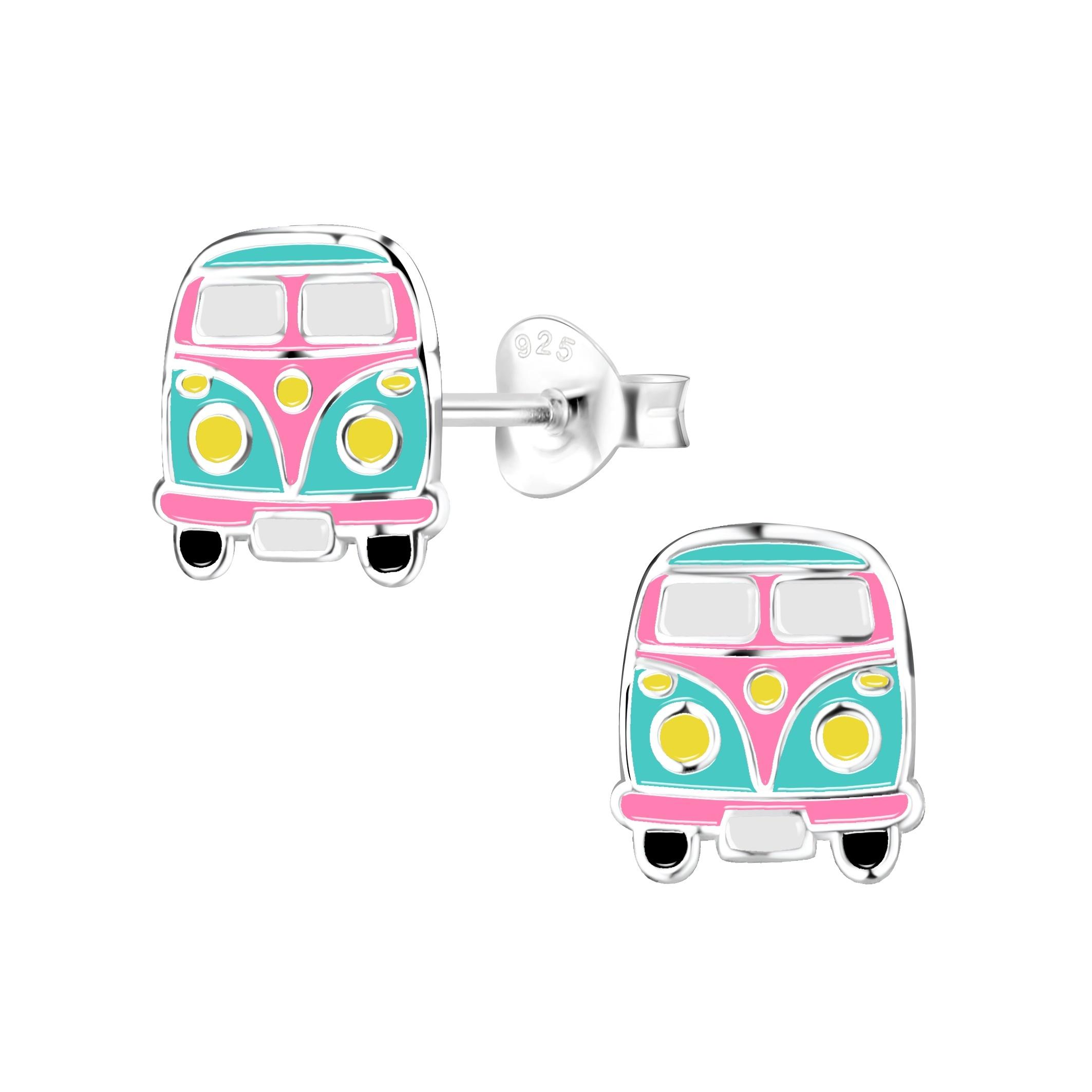 pink and teal van earrings