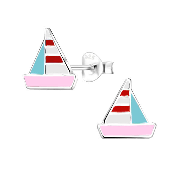 colorful sailboat stud earrings