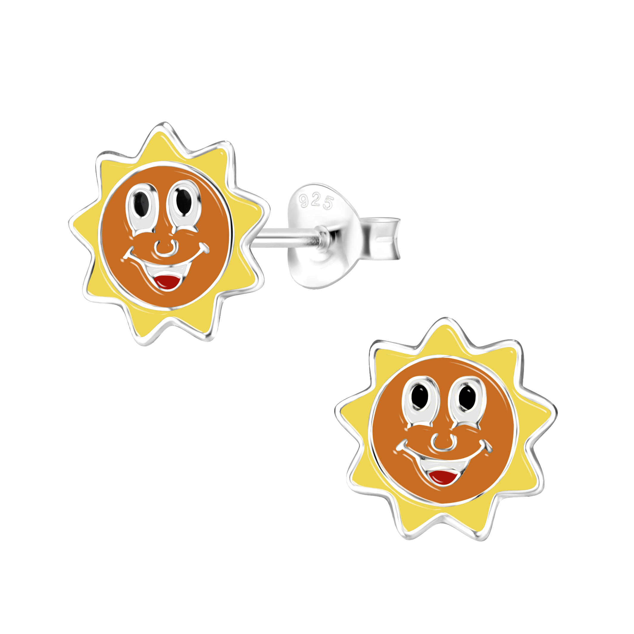 sun post earrings with cheerful face