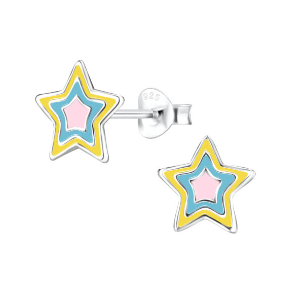 Pastel and sterling silver star earrings