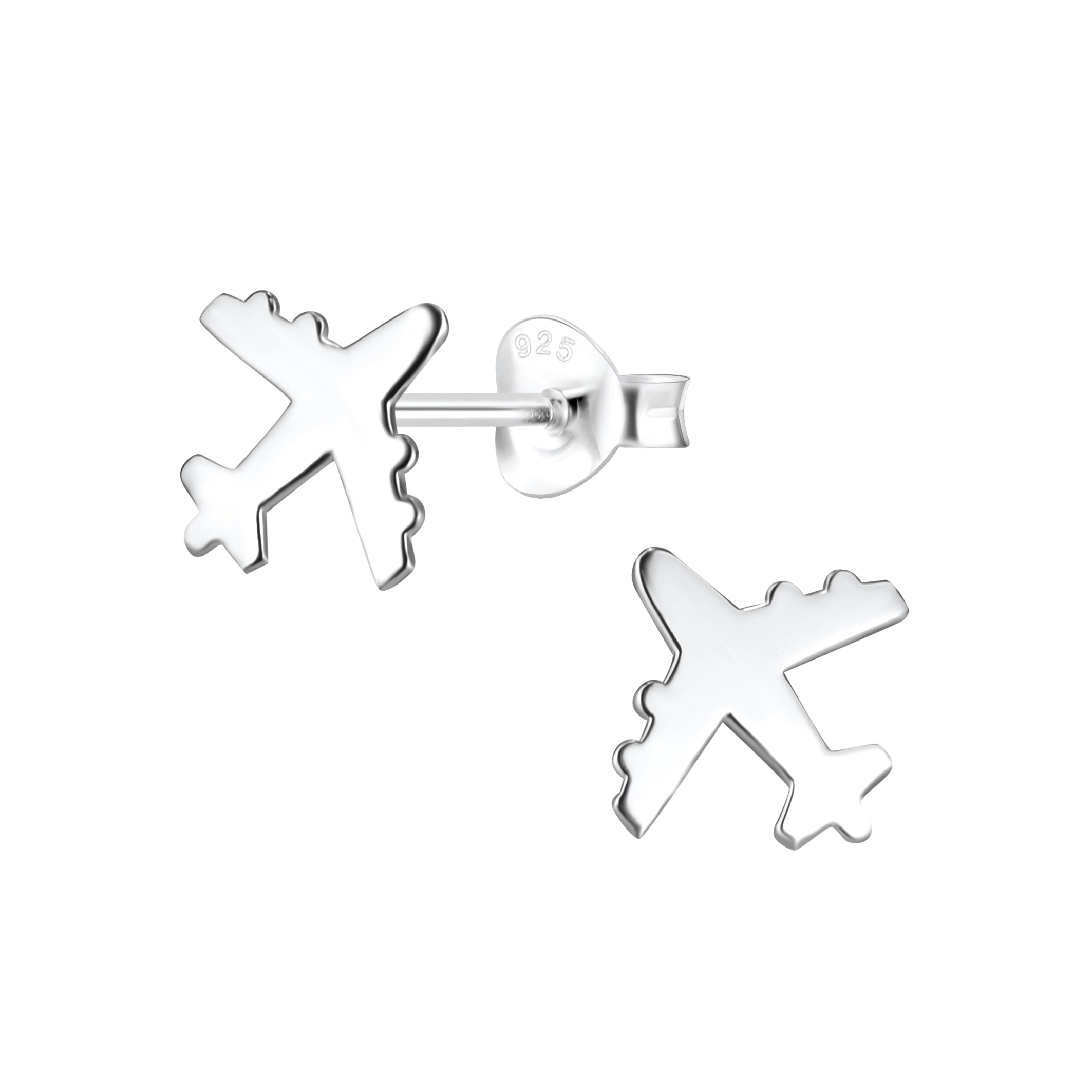 Airplane with engines sterling silver post earrings