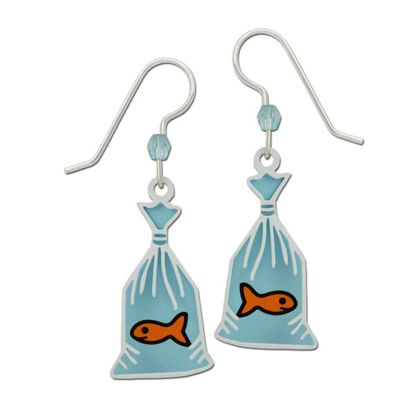 goldfish in bag earrings