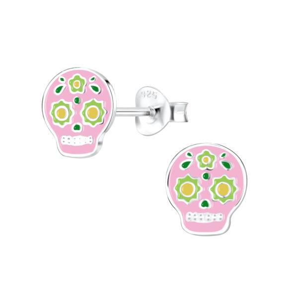 sugar skull colorful enamel and sterling silver post earrings
