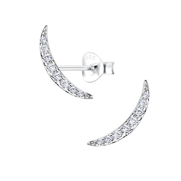 long and thin curved ear climber post earrings