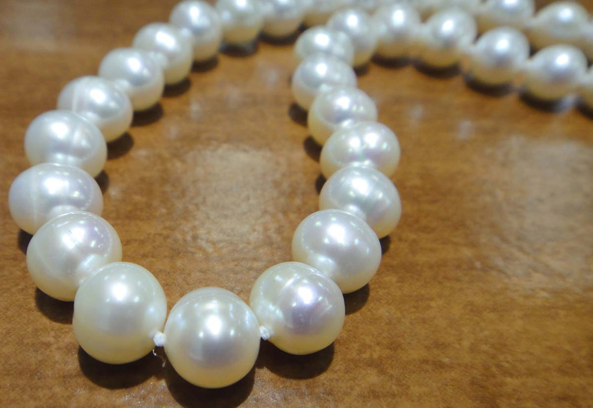 close up of pearl necklace