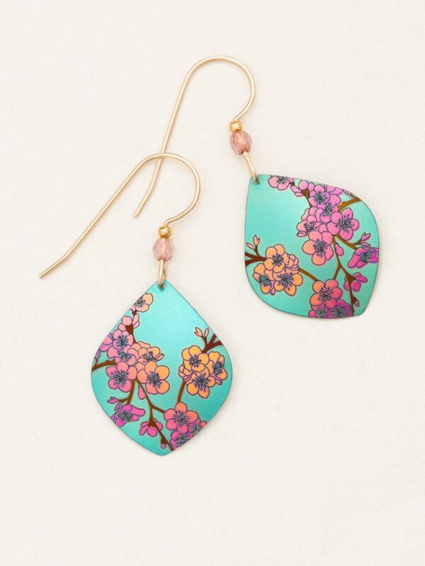 teal cherry blossom earrings by jewelry designer Holly Yashi
