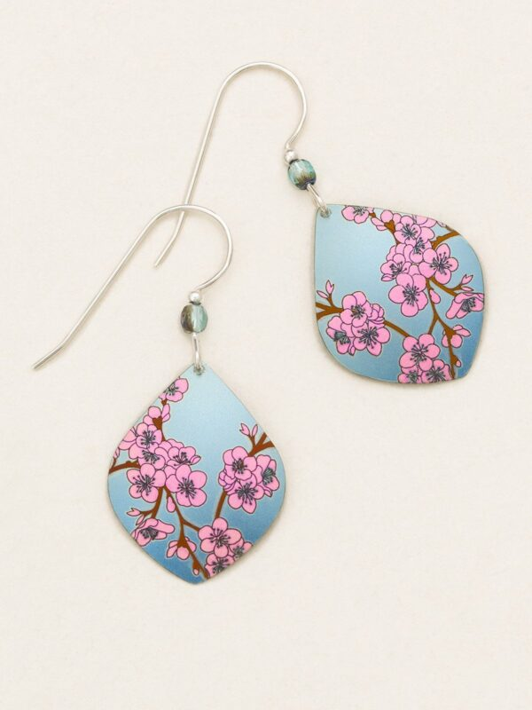 Pink cherry blossom earrings with blue background by Holly Yashi