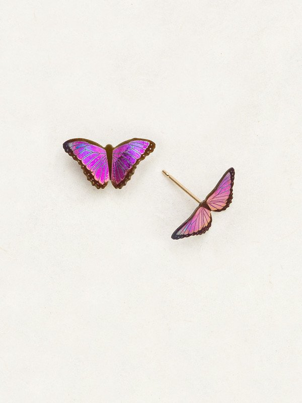 magenta butterfly post earrings by Holly Yashi