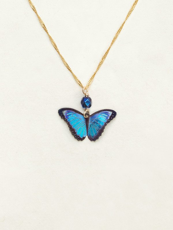blue butterfly pendant on chain