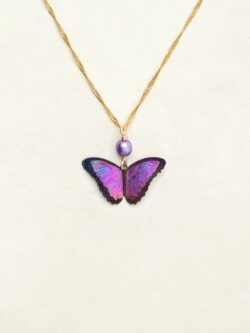 magenta butterfly pendant on necklace by Holly Yashi