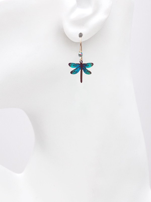 Dragonfly earrings on mannequin to help gauge size