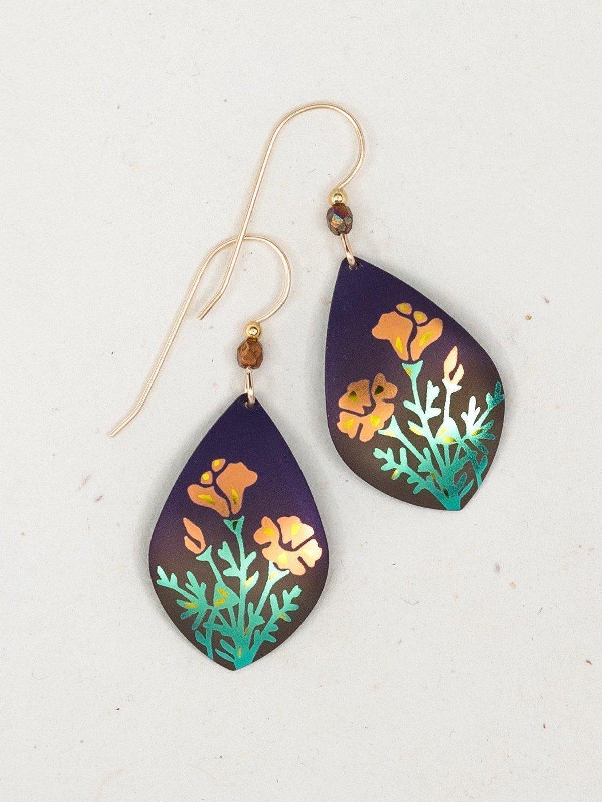handmade poppy flower earrings by Holly Yashi jewelry