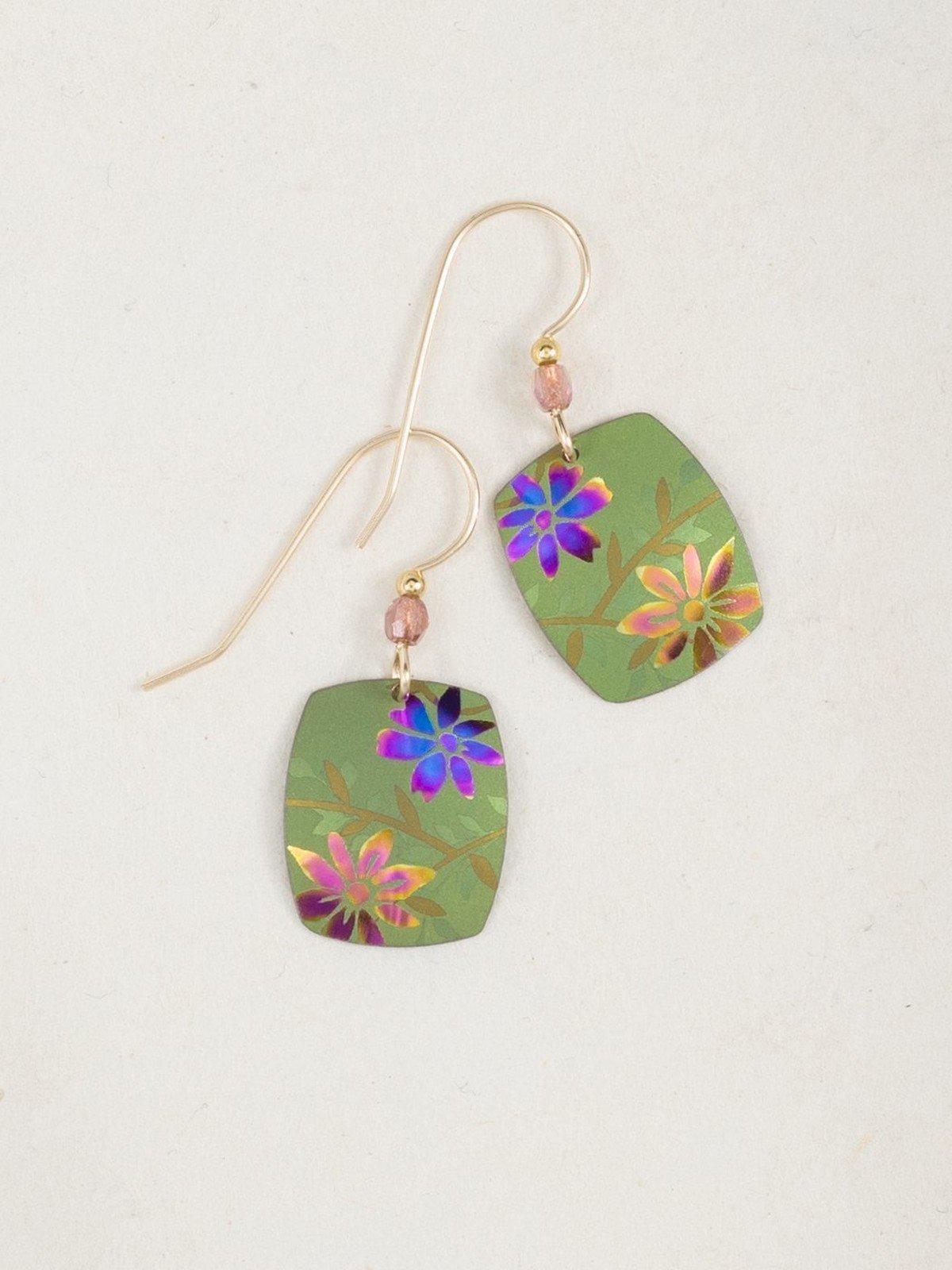 Bright Green Flower Meadow Earrings by Holly Yashi Jewelry