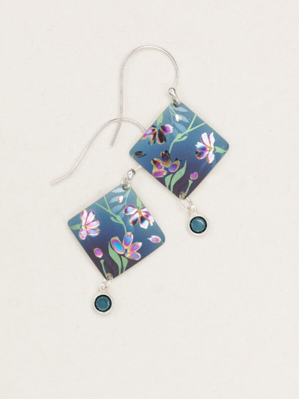 Blue and Purple flower earrings by Holly Yashi