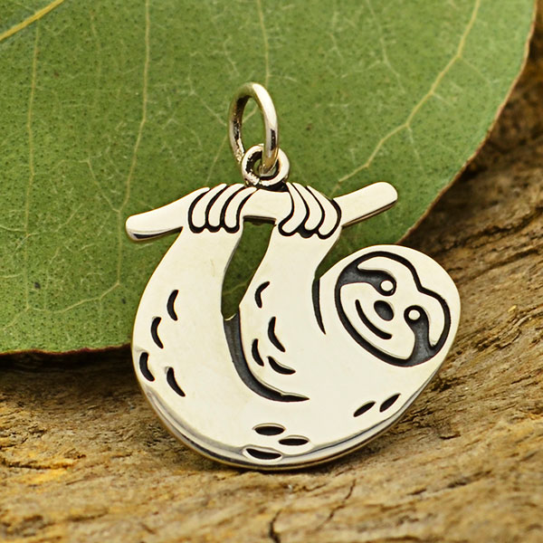 sloth sterling silver charm pendant