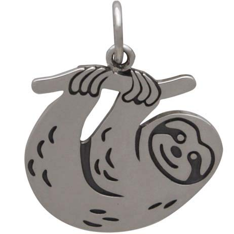 sterling silver sloth charm pendant