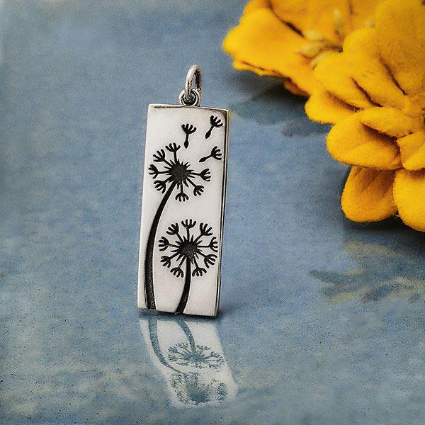 dandelion nickel-free sterling silver pendant