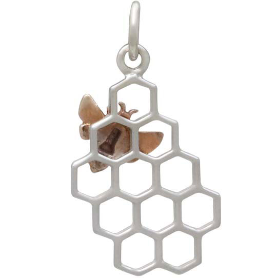 back view of bee on honeycomb pendant
