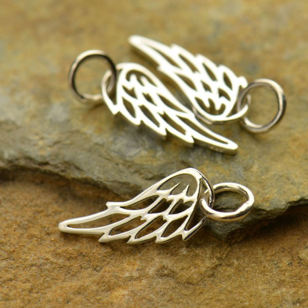 nickel-free sterling silver tiny angel wing charm