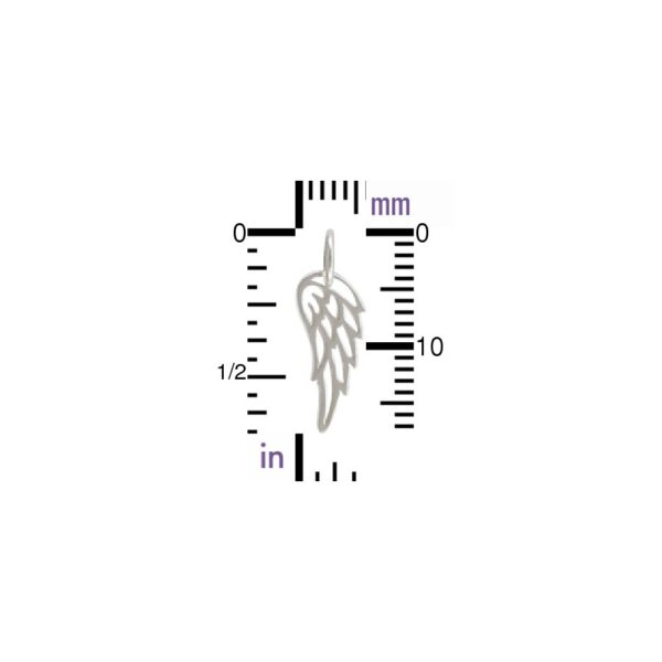 angel wing sterling silver charm with ruler
