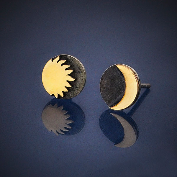sun and moon two tone post earrings