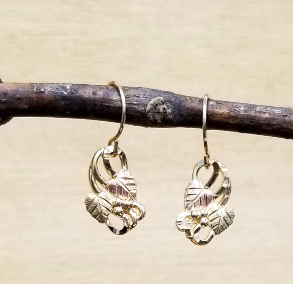 Black Hills Gold grape leaf dangle earrings