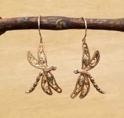 10K Black Hills Gold dragonfly dangle earrings