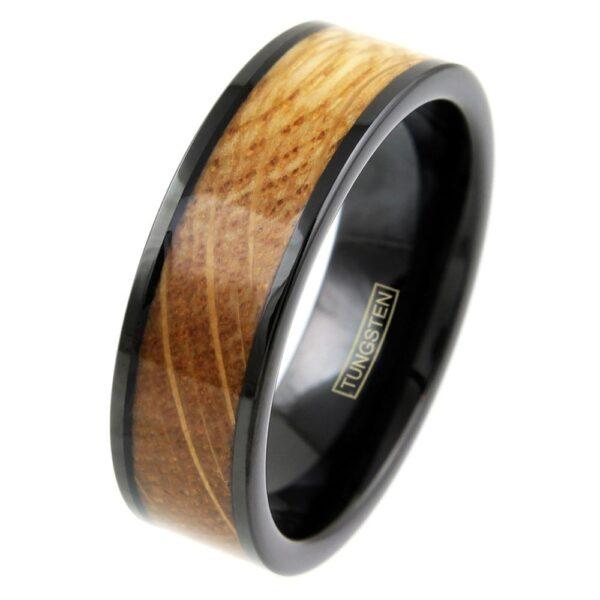 whiskey barrel oak wood and black tungsten ring