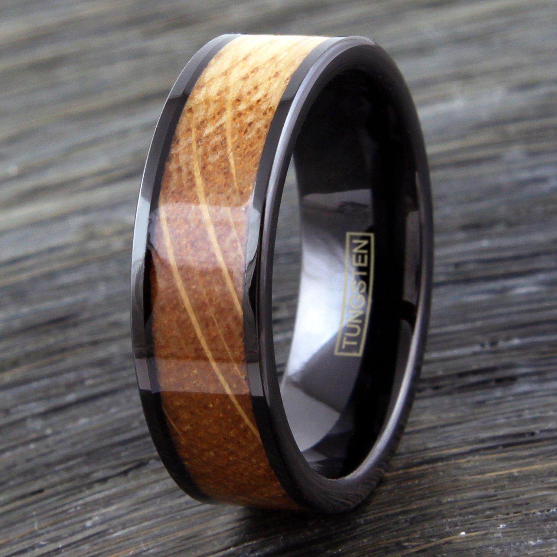 Whiskey barrel oak inlay in black tungsten ring