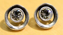 Patricia Locke Eye Spy silvertone stud earrings in clear crystal
