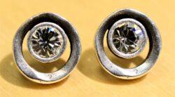 Patricia Locke Eye Spy silvertone stud earrings in clear crystal