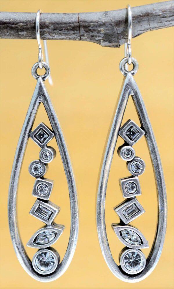 Patricia Locke Geometric Progression silvertone earrings in All Crystal