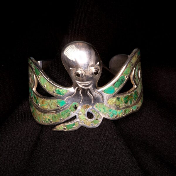 Handmade green turquoise and sterling silver detailed octopus cuff statement bracelet